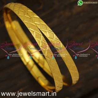 Charming Diamond Cut Print Gold Kangan Design Daily Use Covering Jewellery OnlineB24015