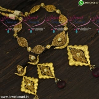 Classic Antique Gold Necklace Design Ideas Big Earrings Kundan Stones NL23879