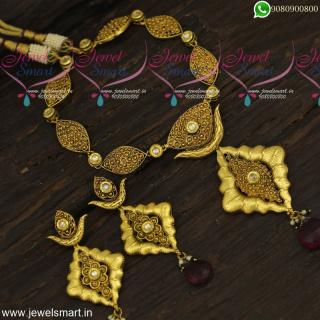 Classic Antique Gold Necklace Design Ideas Big Earrings Kundan StonesNL23879
