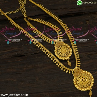 Classic Combo Long Necklace Ideas For Wedding Plain Gold Simple Arumbu Malai Beads NL23942