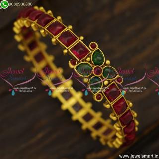 Classic Designer Bangles Kemp Stones Studded Antique Gold Jewellery