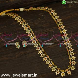 NL24377 Classic Favourite Long Gold Necklace Ideas Floral Medium Size Antique Jewellery