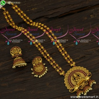 Classic Long Gold Necklace Ideas For Wedding With Silk Sarees Antique Jewellery NL23930