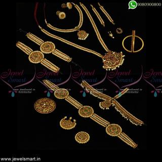 Classical Bharathanatyam Dance Jewellery Kemp Pearls Low Price Full Combo Set Online D23076