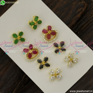 Floral Colour Changeable Ear Studs AD Stones Fashion Jewellery Designs Online ER23799