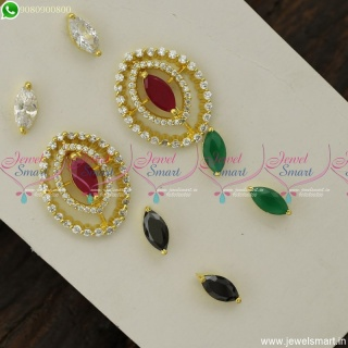 Eyecut Shape Colour Changeable Ear Studs AD Stones Fashion Jewellery Designs Online ER23800