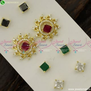 Fan Shape Colour Changeable Ear Studs AD Stones Fashion Jewellery Designs Online ER23801