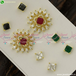 Marquise Colour Changeable Ear Studs AD Stones Fashion Jewellery Designs Online ER23802