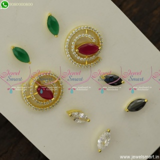 Jelebi Model Colour Changeable Ear Studs AD Stones Fashion Jewellery Designs ER23803