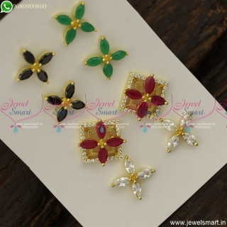 Marquise Square Colour Changeable Ear Studs AD Stones Fashion Jewellery Kammal ER23804