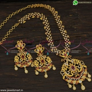 Constantly In Fashion One Gram Gold Necklace Set Fancy Peacock PendantNL23084