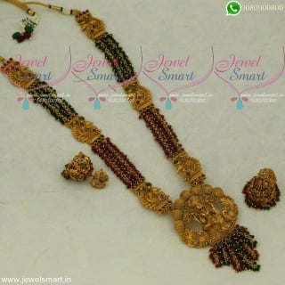 Crystal Jewellery Long Necklace Temple Haram Trendy Imitation Collections Online