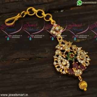 Cute CZ Nethichutti Designs Latest Maang Tikka Models Low Price Fashion Jewellery T23959