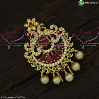 Cute Peacock Accesories for Hair With Pearls Jadai Alangaram For Marriage H21946
