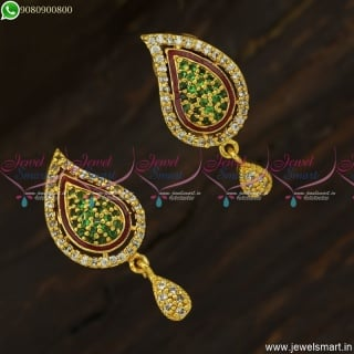 CZ Green White Manga Thodu Kammal Latest Earrings Gold Design ER23748