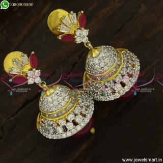 CZ Jimikki Kammal Designs Latest Ruby White Stones Jhumkas OnlineJ23761