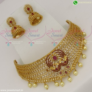 CZ Stones Choker Necklace Stylish Peacock Jewellery Gold Plated CollectionsNL22539