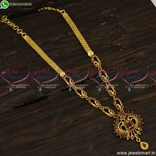CZ Stones Gold Plated Necklace Simple Designs For Daily Wear Online NL23544