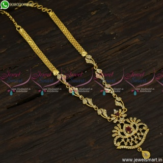 CZ Stones Necklace Designs South Indian Gold Plated Daily Wear Jewellery NL23542