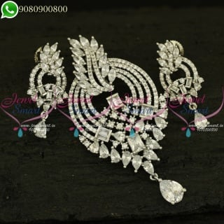 CZ Stones Pendant Set Silver Plated Fashion Jewellery New Designs PS20986
