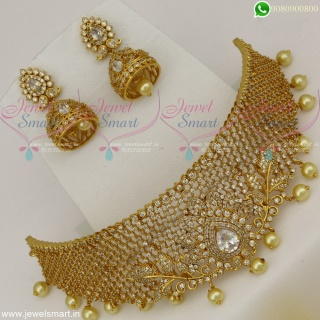 CZ White Stones Dazzling Choker Necklace For Wedding With Jhumkas Online NL22541