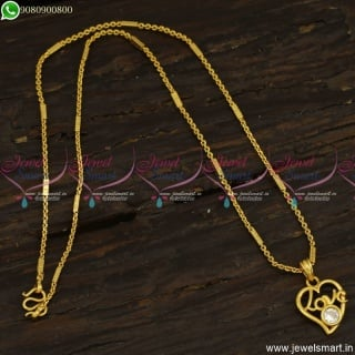 Daily Wear Capsule Chain Pendant Designs With Love Text Online CS23495