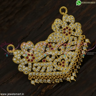 Dazzling and Decorative Gold Pendant Designs with Stone Drops Floral CollectionsP23012