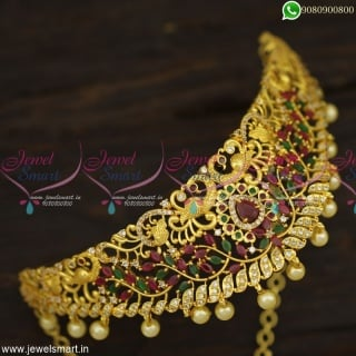 Dazzling Choker Necklace Peacock Design Gold Plated Bridal Jewellery Online NL23318