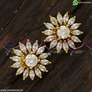 Dazzling Diamond Inspired Gold Covering Kammal Designs South Indian JewelleryER23331