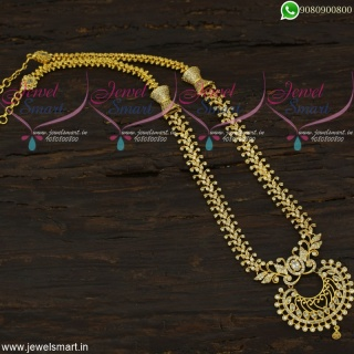 Dazzling Long Gold Necklace New Stone Chain Models Online Offer Price