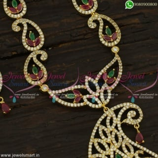 Dazzling Mango Malai Gold Haram Designs Fascinating Long Necklace CZ Fashion Jewellery NL22301