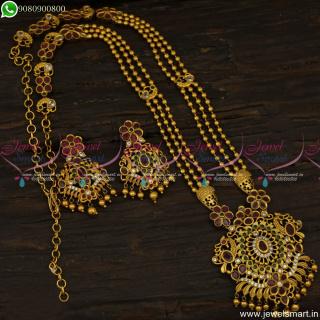 Delicate 3 Line Beads Antique Gold Long Necklace Mugappu Model Haram OnlineNL23821