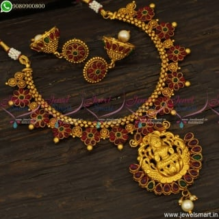 Delightful Chain Necklace Set Floral Kemp Stones Temple Jewellery Jhumkas Online NL23785