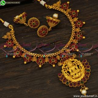 Delightful Chain Necklace Set Floral Kemp Stones Temple Jewellery Jhumkas OnlineNL23785