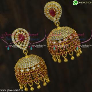 Delightful Jhumka Earrings Latest CZ Fashion Jewellery Screwback Kammal
