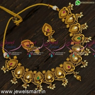 Delightful Peacock Spreading Feathers Soft Gold Necklace Designs For MarriageNL24065