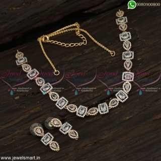 Delightful Real CZ Necklace Set in Silver and Rose Gold Tone Diamond Concept Jewellery NL22833