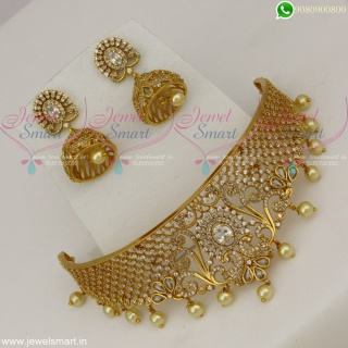 CZ White Stones Designer Choker Necklace Trendy Jewellery Collections OnlineNL22542