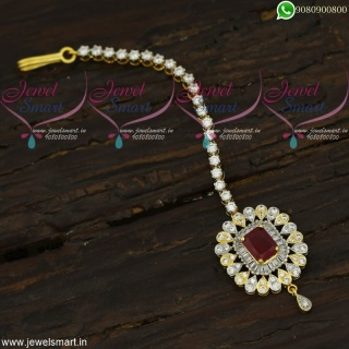 Designer Diamond Finish Maang Tikka Latest Accessories For Hair Online T22001