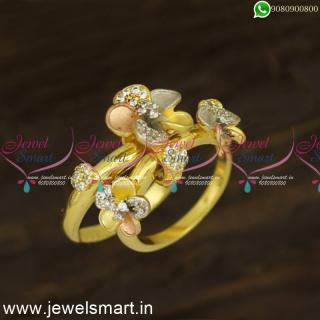 Designer Double Layer Slider Diamond Finger Rings Trending Imitation JewelleryF24440