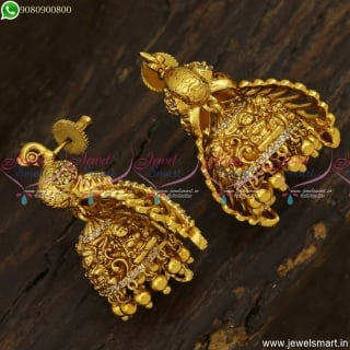 Designer Jhumka Earrings Peacock Before Spreading Wings Position Realistic Temple Jewellery J23483