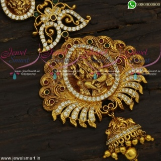 Designer Long Necklace Temple Jewellery Set For Wedding CZ Collections Online NL21855