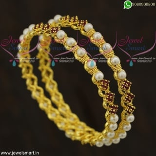 Designer Pearl Bangles Gold Plated Set Imitation Jewellery OnlineRuby Emerald Stones B21821
