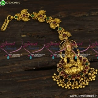 Designer Temple Jewellery For Wedding New Arrivals Maang Tikka Antique Gold T23848