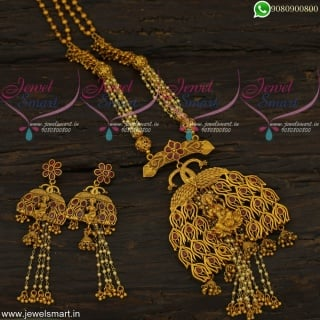 Designer Temple Jewellery Pearls and Beads Peacock Chain Ghungroo Matte Look NL22225