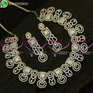 Diamond Jewellery Finish Imitation Necklace Set Party Wear Collections NL20914