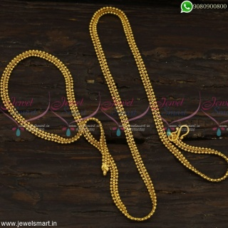 Distinctive Long Chain Designs Flexible Beads Design Gold Covering Jewellery Online C23169