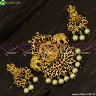 Divine Gajalakshmi Temple Jewellery Artistic Gold Pendant Designs With Earrings PS23810