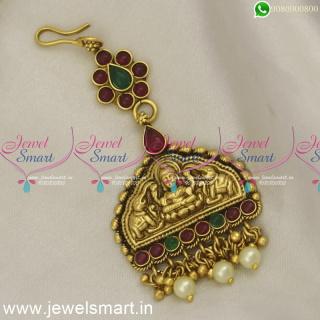 Divine Gajalakshmi Temple Jewellery Maang Tikka New Nethichutti Designs