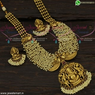 Divine Lord Ganesha Long Gold Necklace Bridal Antique Jewellery Online